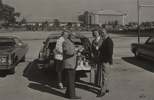 Fans tailgating at Ohio Stadium in 1968.