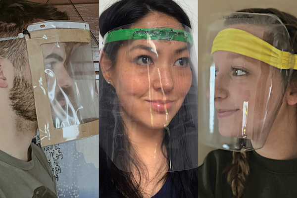 Second-year industrial design students in do-it-yourself face shields