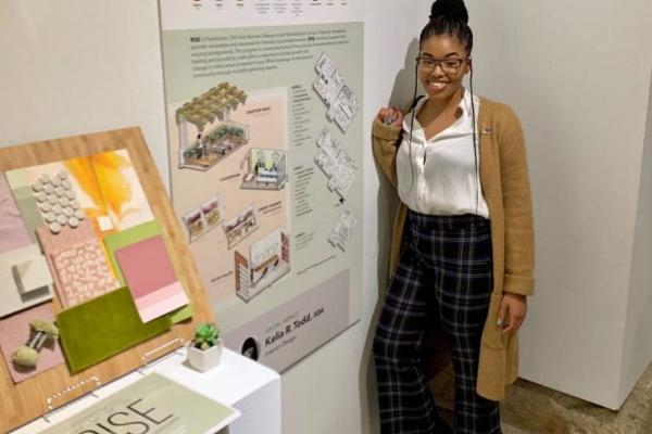 Kelia Todd standing next to her thesis project which won Best in Show for the interior design segment of the Department of Design Spring Exhibition 2019 show. Credit: Courtesy of Kelia Todd